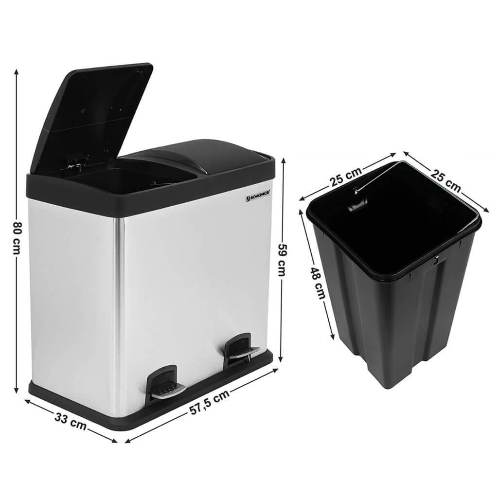 Songmics Abfallsammler mit 48 Liter | 2-fach Trennsystem